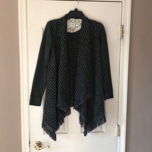 Anthro. Saturday Sunday green fringe cardigan XS